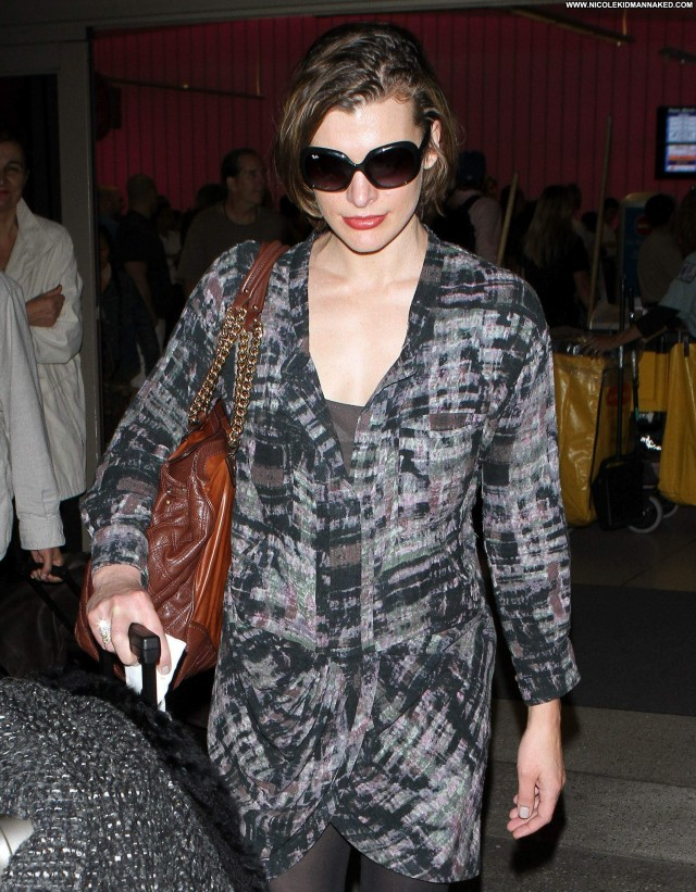 Milla Jovovich Lax Airport High Resolution Beautiful Celebrity Lax